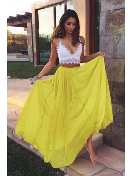 A-Line/Princess Straps Floor-Length Lace Chiffon Two Piece Dress