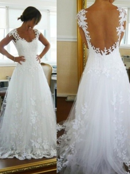 A-Line/Princess Sweep/Brush Train Tulle Sleeveless V-neck Lace Wedding Dresses