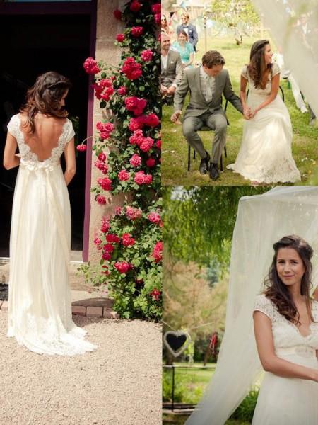 A-Line/Princess Sweep/Brush Train Tulle Sleeveless V-neck Wedding Dresses