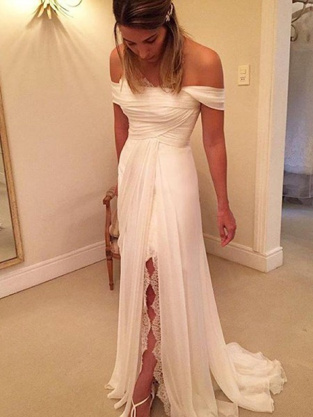 A-Line/Princess Sweep/Brush Train Chiffon Sleeveless Off-the-Shoulder Ruffles Wedding Dresses