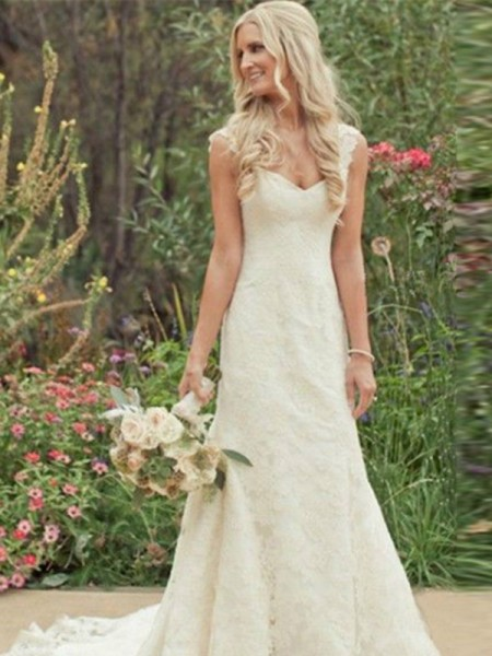 Trumpet/Mermaid Sweep/Brush Train Lace Sleeveless V-neck Wedding Dresses