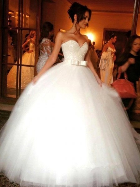 Ball Gown Floor-Length Tulle Sleeveless Sweetheart Bowknot Wedding Dresses