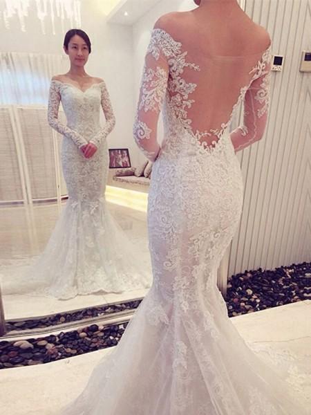 Trumpet/Mermaid Chapel Train Lace Long Sleeves Off-the-Shoulder Wedding Dresses