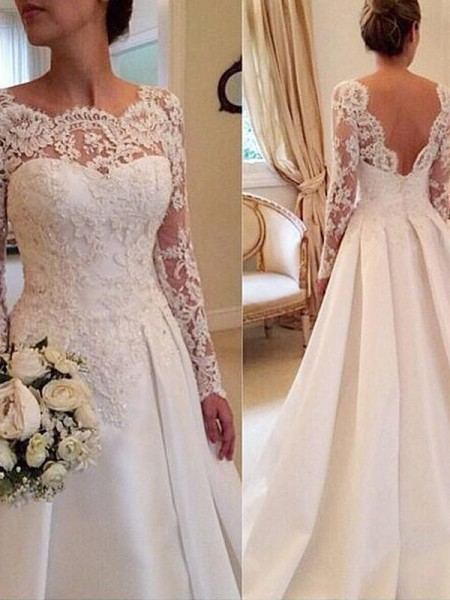 Ball Gown Court Train Satin Long Sleeves Scoop Lace Wedding Dresses