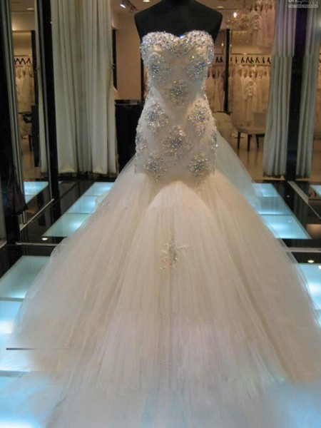 Trumpet/Mermaid Chapel Train Tulle Sleeveless Sweetheart Beading Wedding Dresses