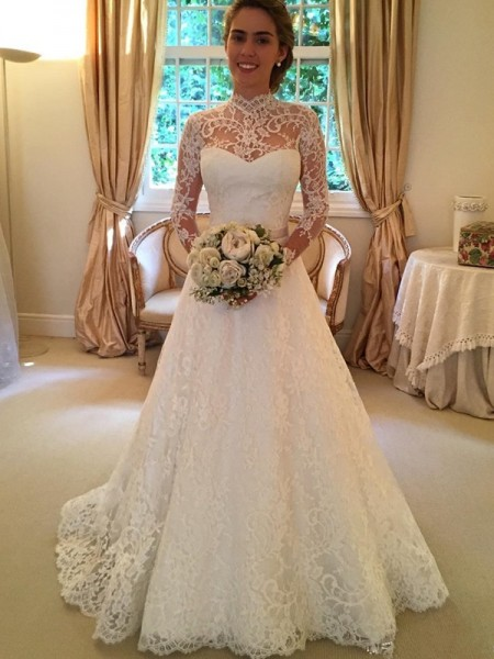 Ball Gown Court Train Lace Long Sleeves High Neck Lace Wedding Dresses