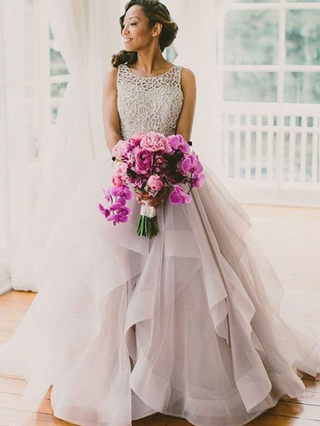 Ball Gown Sweep/Brush Train Tulle Sleeveless Scoop Beading Wedding Dresses