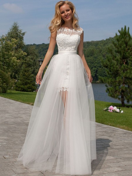 Sheath/Column Floor-Length Tulle Sleeveless Scoop Lace Wedding Dresses