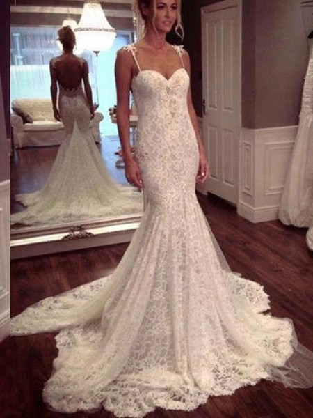 Trumpet/Mermaid Court Train Lace Sleeveless Spaghetti Straps Lace Wedding Dresses