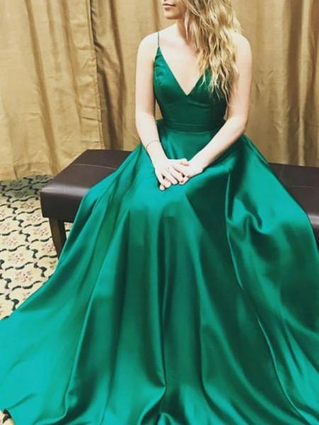 A-Line/Princess Spaghetti Straps Satin Floor-Length Dress