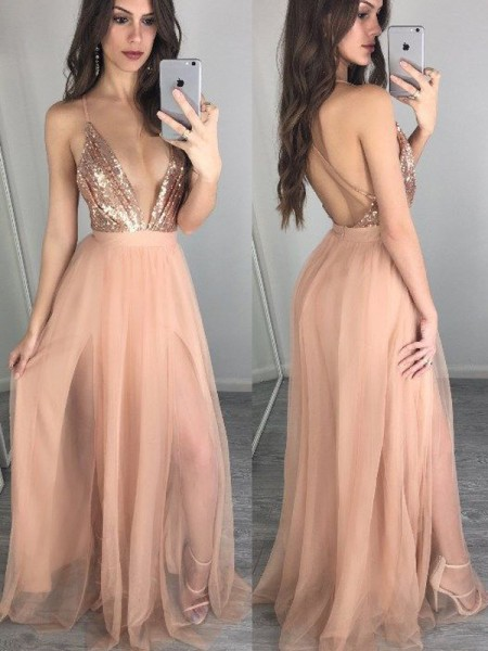 A-Line/Princess Floor-Length Chiffon Sleeveless Spaghetti Straps Sequin Dresses