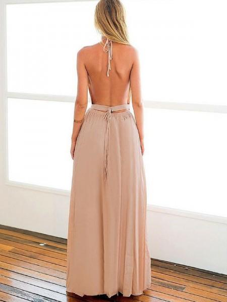 A-Line/Princess Floor-Length Chiffon Sleeveless Halter Beading Dresses