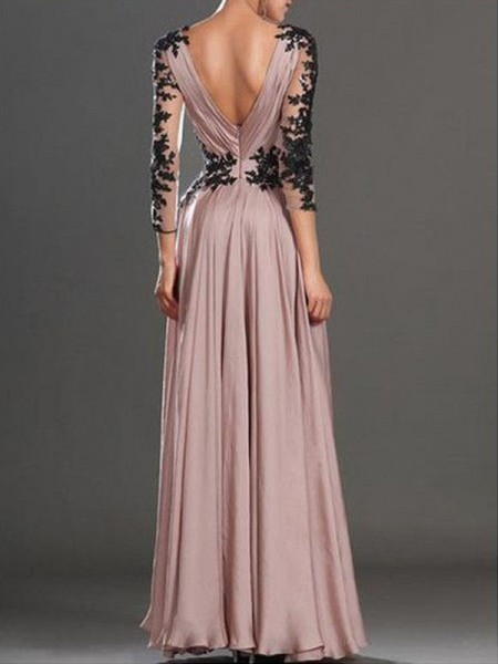 A-Line/Princess Floor-Length Chiffon Long Sleeves V-neck Applique Dresses