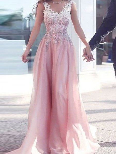 A-Line/Princess Sweetheart Floor-Length Applique Chiffon Dress