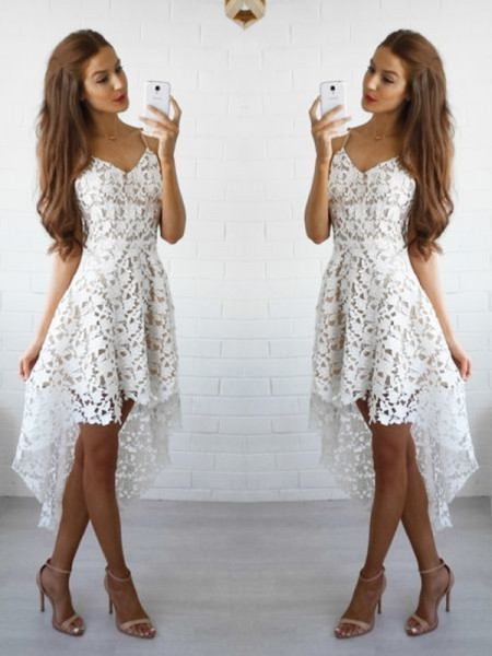 A-Line/Princess Spaghetti Straps Lace Short/Mini Dress