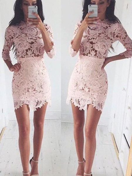 A-Line/Princess 1/2 Sleeves Scoop Lace Short/Mini Dress