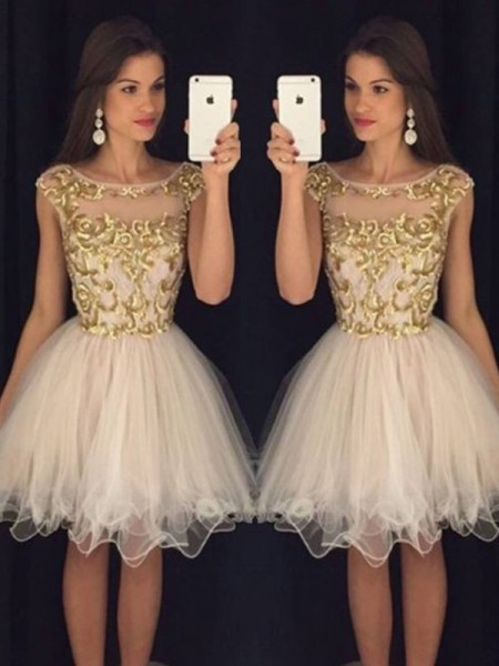 A-Line/Princess Scoop Paillette Tulle Short/Mini Dress