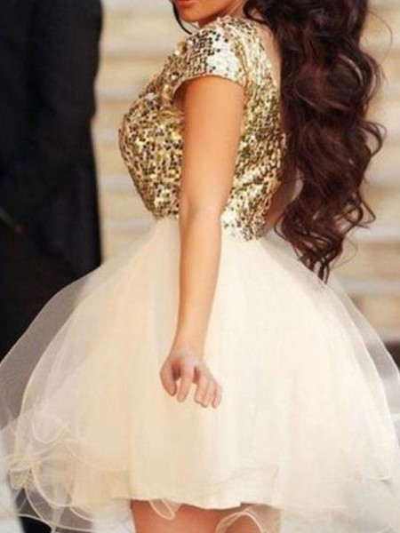 A-line/Princess Short/Mini Tulle Sleeveless Scoop Sequin Dresses