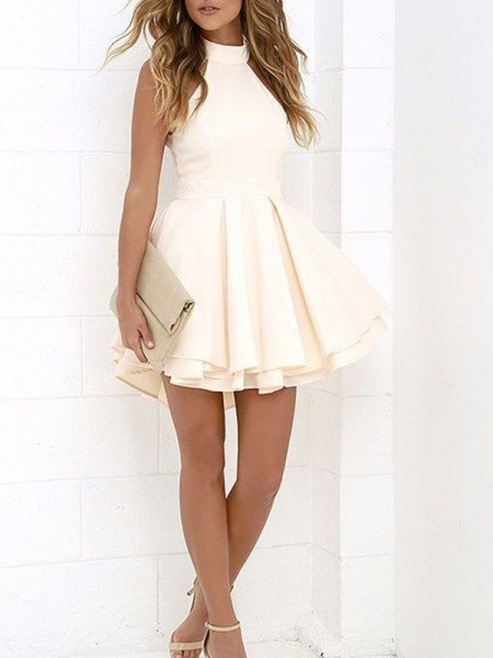 A-line/Princess Short/Mini Satin Sleeveless Halter Dresses