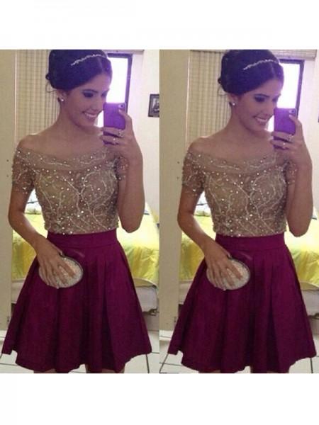 A-line/Princess Short/Mini Satin Short Sleeves Off-the-Shoulder Beading Dresses