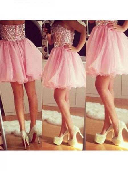 A-line/Princess Short/Mini Tulle Sleeveless Sweetheart Beading Dresses