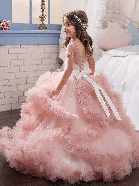 Ball Gown Floor-Length Tulle Short Sleeves Jewel Crystal Flower Girl Dresses