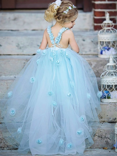 Ball Gown Floor-Length Tulle Sleeveless Bateau Hand-Made Flower Flower Girl Dresses