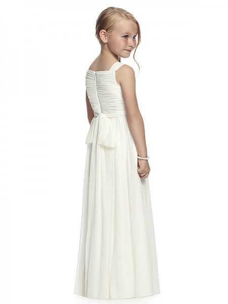 A-Line/Princess Floor-Length Chiffon Sleeveless Straps Ruched Flower Girl Dresses