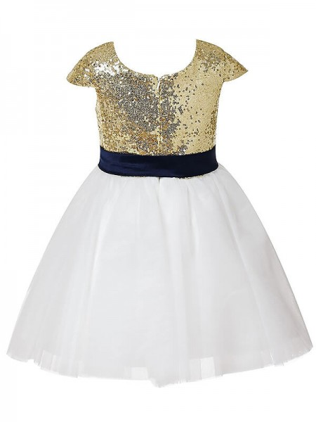 A-Line/Princess Tea-Length Tulle Short Sleeves Jewel Sequins Flower Girl Dresses