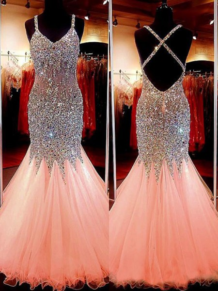 Trumpet/Mermaid Floor-Length Tulle Sleeveless V-neck Sequin Dresses