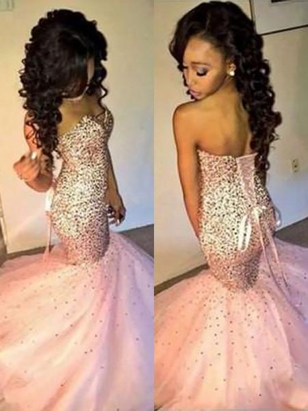 Trumpet/Mermaid Floor-Length Tulle Sleeveless Sweetheart Sequin Dresses