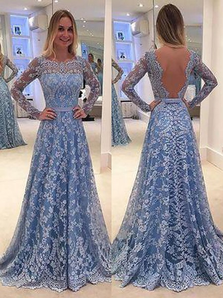 A-Line/Princess Floor-Length Lace Long Sleeves Bateau Ruffles Dresses