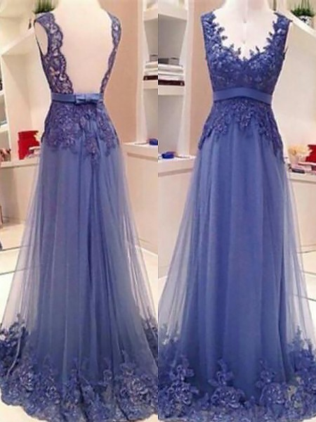 A-Line/Princess Floor-Length Tulle Sleeveless V-neck Applique Dresses