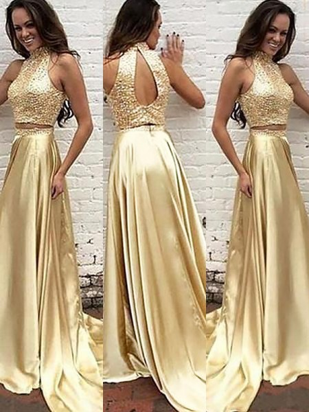 A-Line/Princess Sweep/Brush Train Satin Sleeveless High Neck Beading Dresses