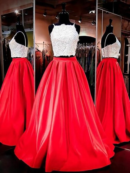 A-Line/Princess Floor-Length Satin Sleeveless Spaghetti Straps Lace Dresses