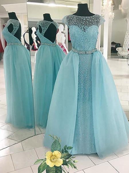Ball Gown Floor-Length Tulle Sleeveless Bateau Beading Dresses