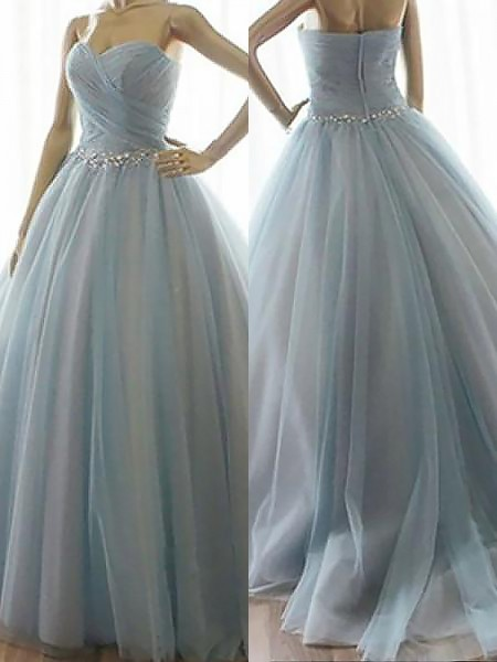 Ball Gown Floor-Length Tulle Sleeveless Sweetheart Beading Dresses