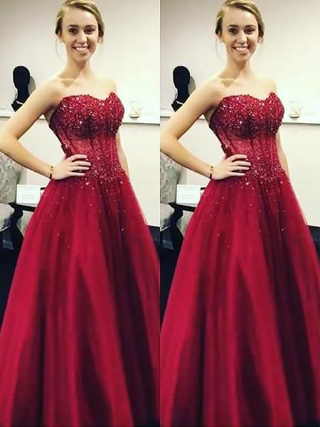 Ball Gown Sweetheart Beading Floor-Length Satin Dress