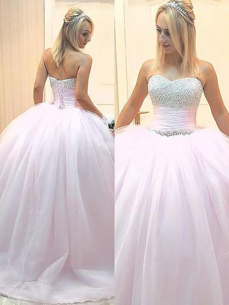 Ball Gown Sweetheart Beading Floor-Length Tulle Dress