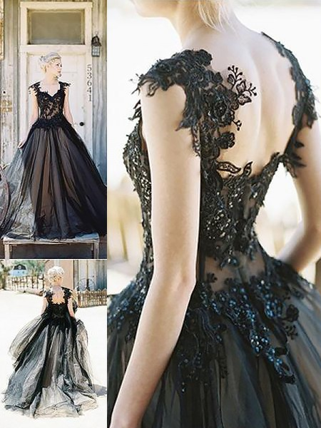 Ball Gown Sweep/Brush Train Tulle Sleeveless Sweetheart Lace Dresses