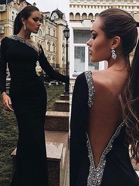 Trumpet/Mermaid Floor-Length Spandex Long Sleeves One-Shoulder Beading Dresses