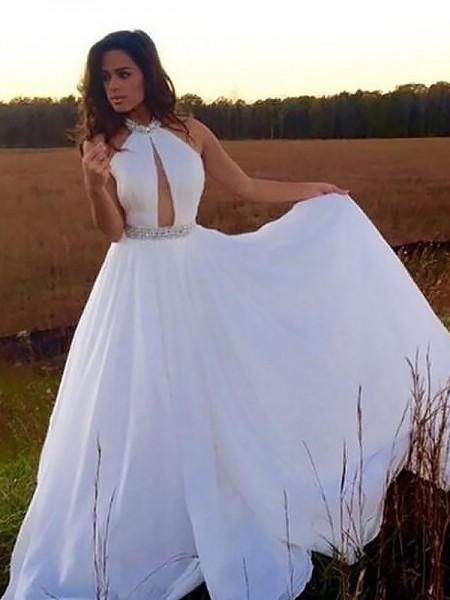 A-Line/Princess Halter Floor-Length Beading Chiffon Dress