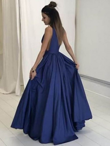 A-Line/Princess Floor-Length Taffeta Sleeveless V-neck Dresses
