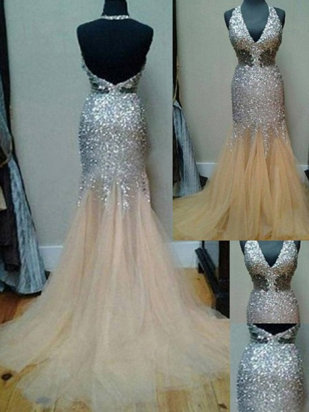 Trumpet/Mermaid Court Train Tulle Sleeveless Halter Sequin Dresses