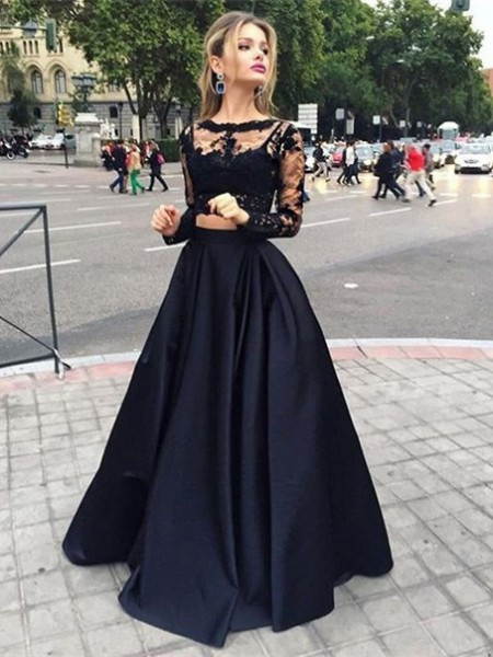 Ball Gown Floor-Length Satin Long Sleeves Bateau Beading Dresses