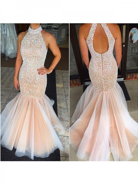 Trumpet/Mermaid Floor-Length Tulle Sleeveless Halter Beading Dresses