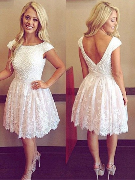 A-line/Princess Short/Mini Lace Short Sleeves Scoop Pearls Dresses
