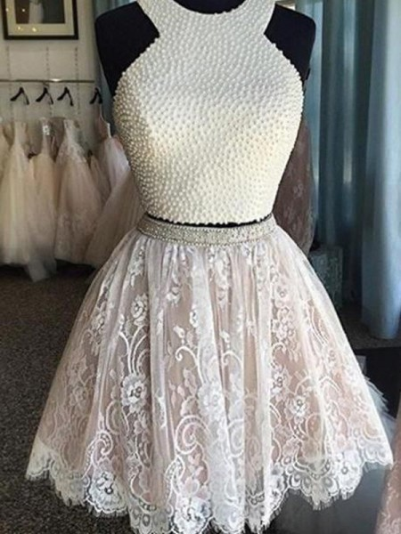 A-line/Princess Short/Mini Lace Sleeveless Halter Pearls Dresses