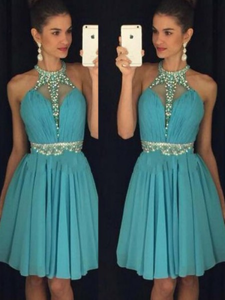 A-line/Princess Short/Mini Chiffon Sleeveless Halter Beading Dresses