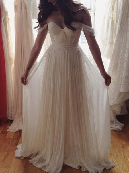 A-Line/Princess Floor-Length Chiffon Sleeveless Off-the-Shoulder Beading Dresses